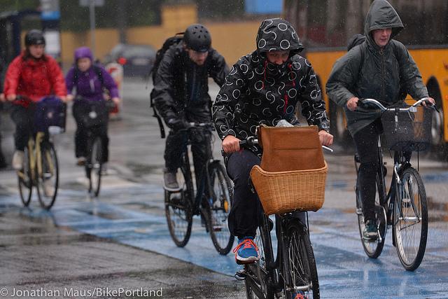 Danish cyclist commuters in the rain