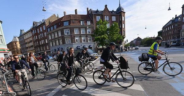 Bike commuters in Denmark