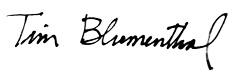 Tim Blumenthal signature