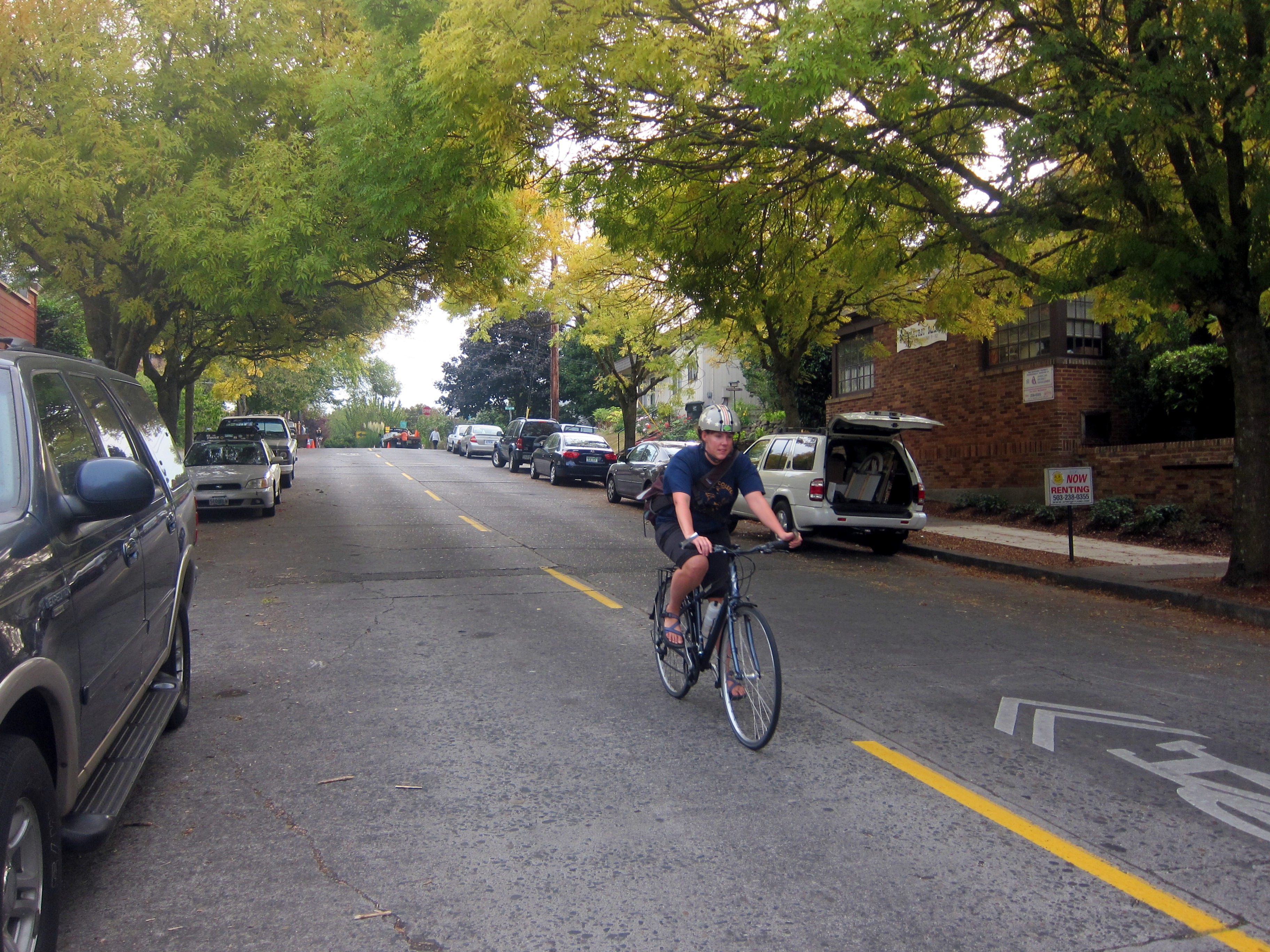 A first-generation greenway on Ankeny Street has sharrows and traffic diverters, though no speed humps.