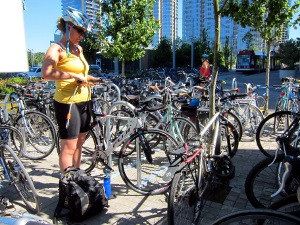bicycle parking in Portland's South Waterfront