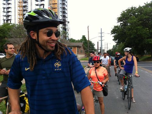 Jordan Exantus of Memphis enjoys the bke tour of Austin