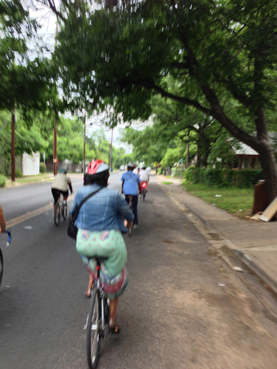 Participants of the Bikes Lanes and Equity Summit tour east Austin