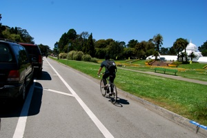 The parking protected lane on John F. Kennedy Drive in Golden Gate Park,