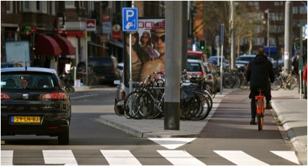 A standard treatment on urban streets where cars are expected to move faster than 30 km/hr (about 19 mph). Photo credit Marc van Woudenburg
