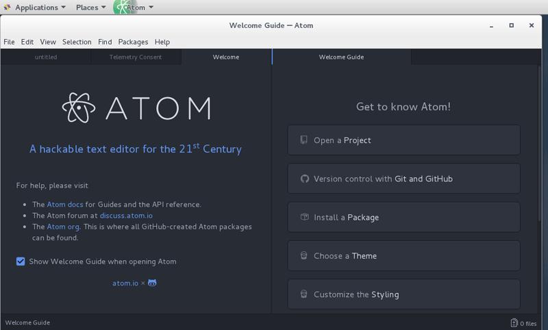 Install Atom Text Editor on CentOS 7 Desktop