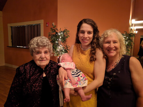 Four generations.  Memere, Mimi, Mommy, and Baby!