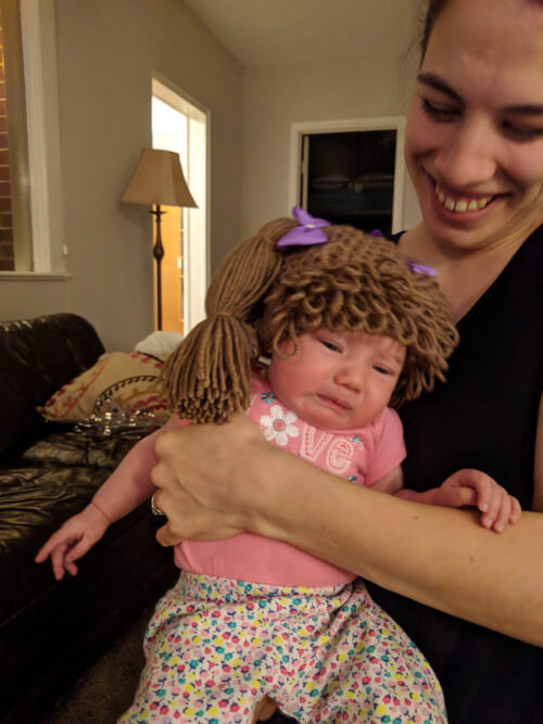 A cabbage patch wig/hat!  Thank you so much Mimi!  :)