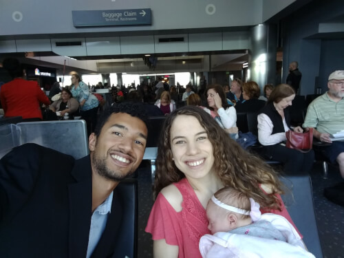 Flying across the country for a family wedding.  Patience's first plane trip at 4 weeks old!  She did great.  She slept during most of our time in the air.