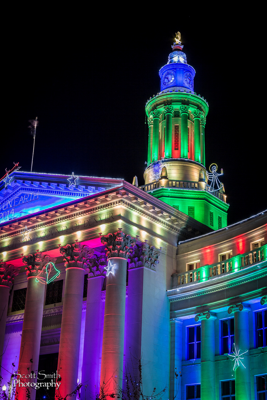 Denver County Courthouse at Christmas 3 - The Denver County Courthouse at Christmas, Denver CO. by D Scott Smith