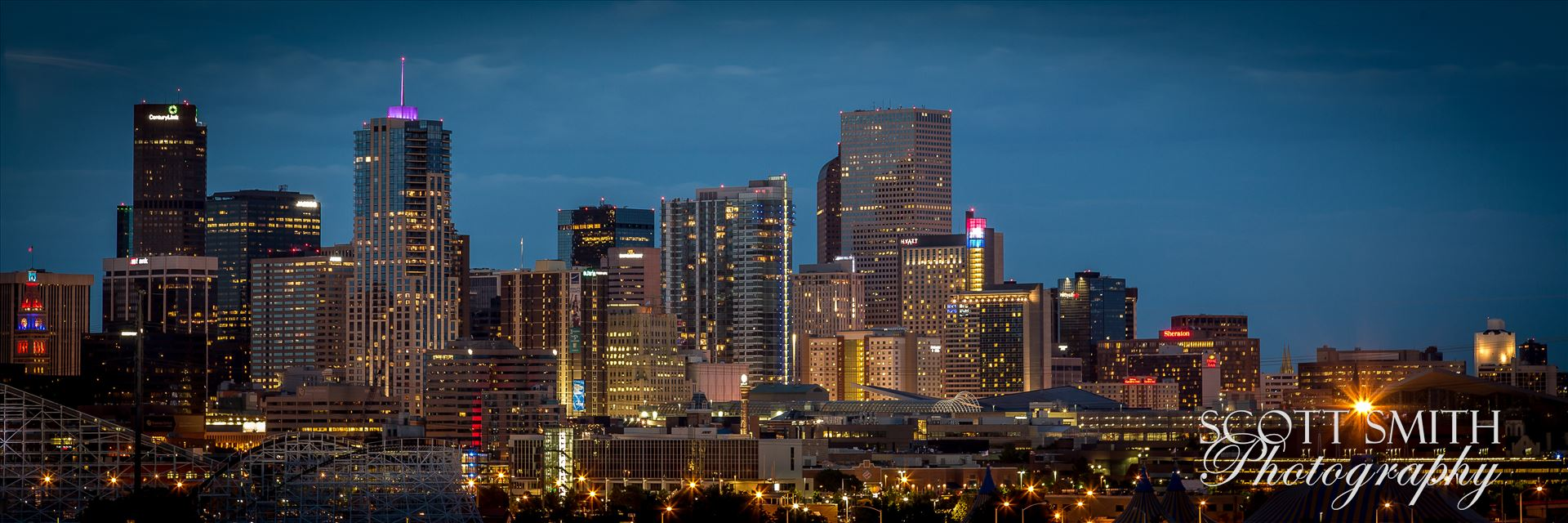 Denver at Night - The Denver skyline as seen from Mile High Stadium. by D Scott Smith
