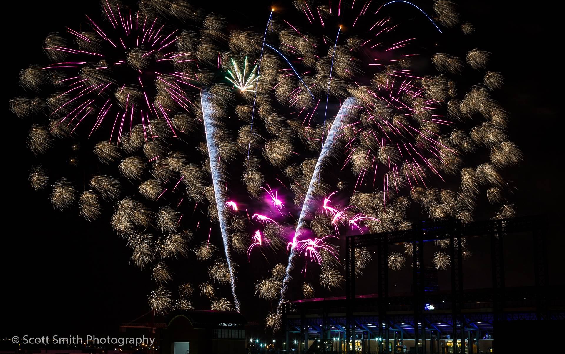 Fireworks over Coors Field 4 - Fourth of July fireworks over Coors Field after a Colorado Rockies game. by D Scott Smith