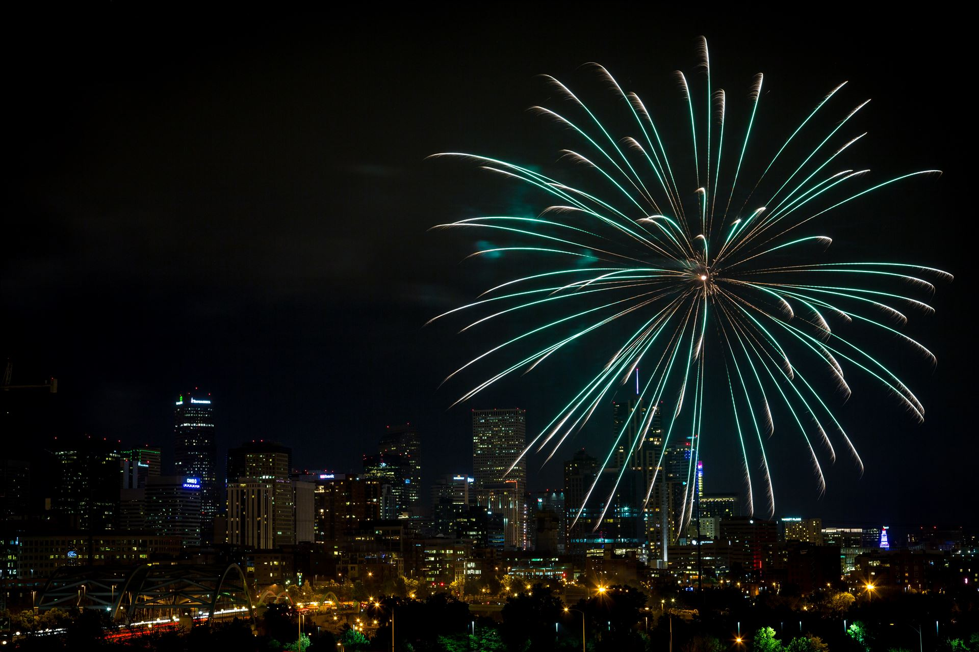 Elitch's Fireworks 2016 - 8 - Fireworks from Elitch Gardens, taken near Speer and Zuni in Denver, Colorado. by D Scott Smith