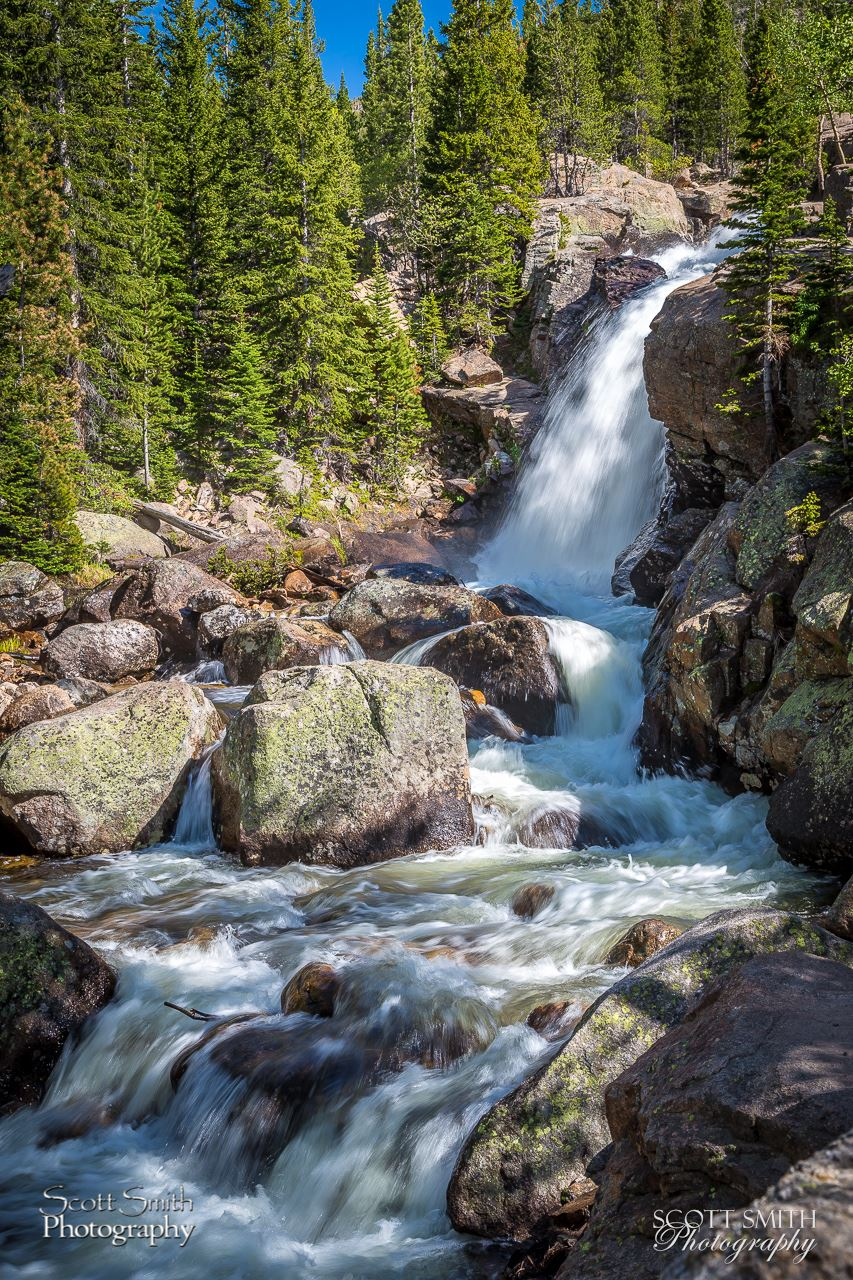 Alberta Falls - Another view of Alberta Falls in Rocky Mountain National Park, with more attention to the turbulent water below. by D Scott Smith