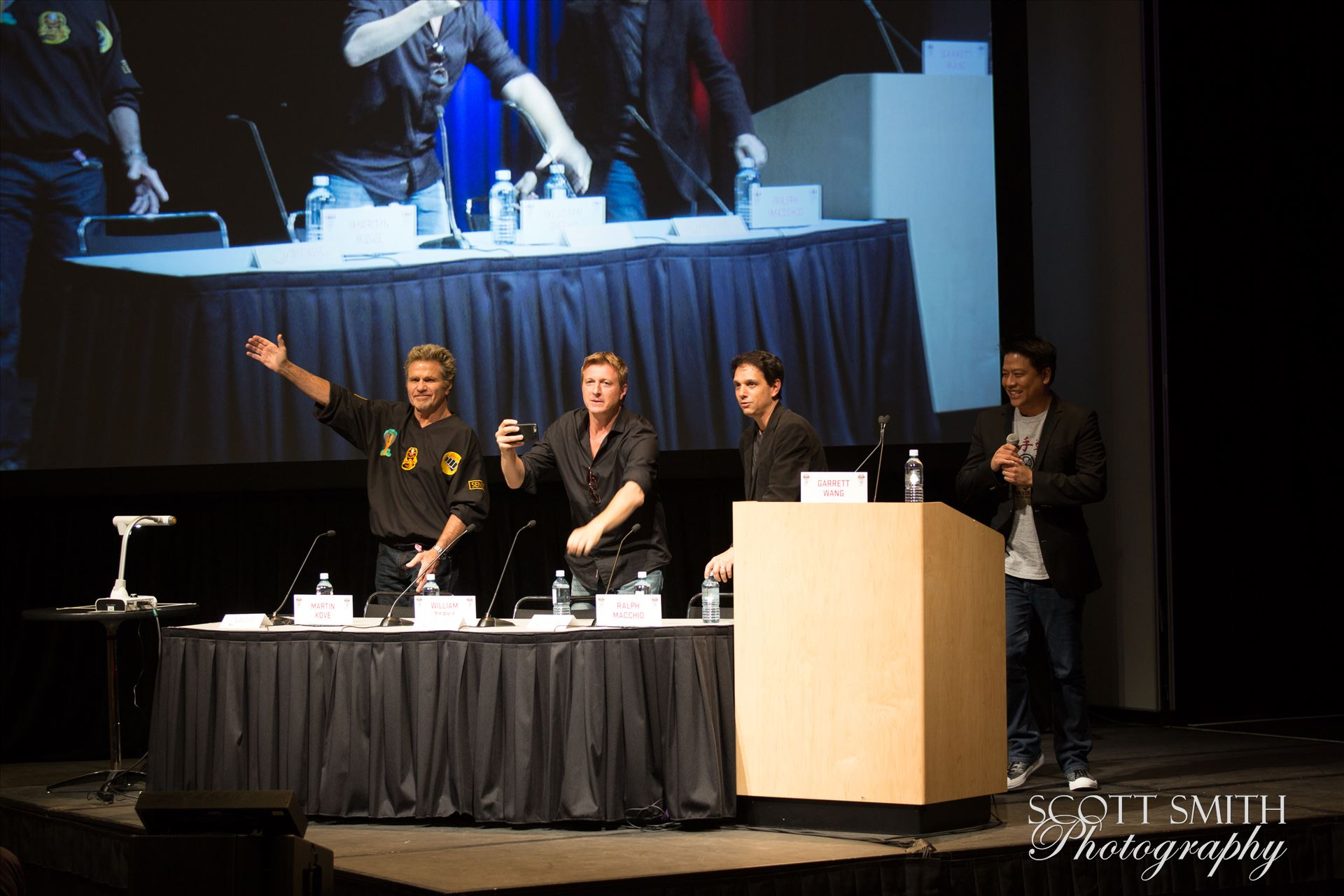 Denver Comic Con 2016 34 - Denver Comic Con 2016 at the Colorado Convention Center. Garrett Wang, Ralph Macchio, Martin Kove and William Zabka. by D Scott Smith