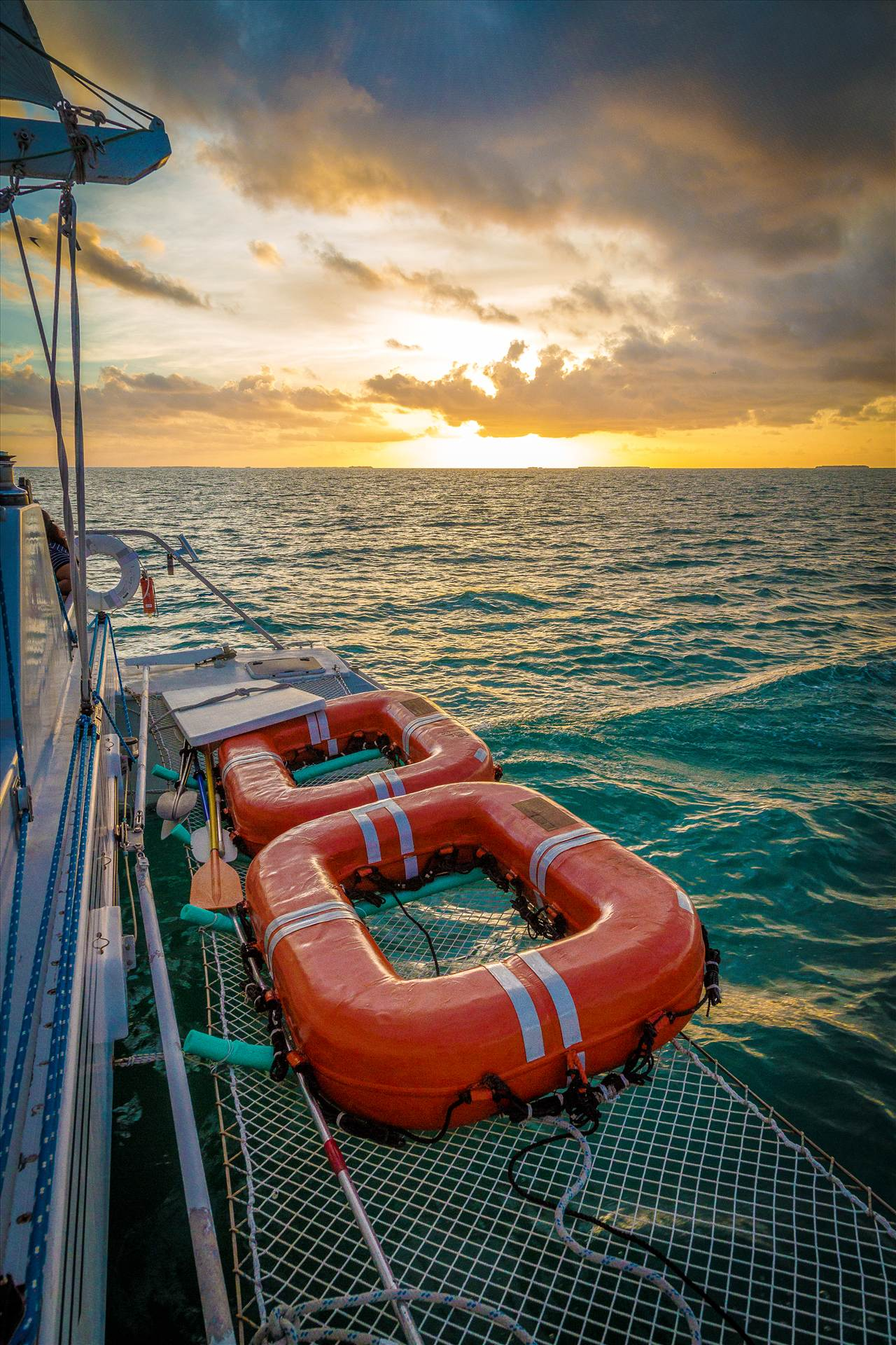 Sunset Cruise 1 - Equipment on the back of the catamaran, on a cruise outside of Key West. by D Scott Smith