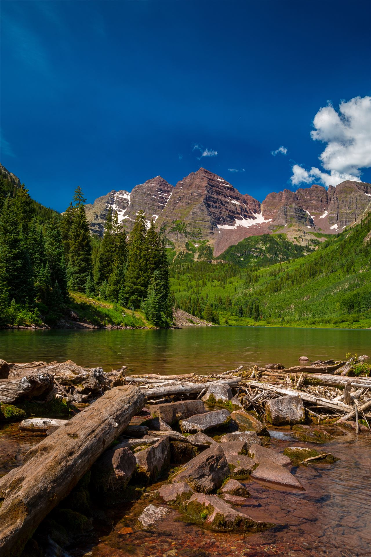Maroon Bells in Summer No 02 -  by D Scott Smith