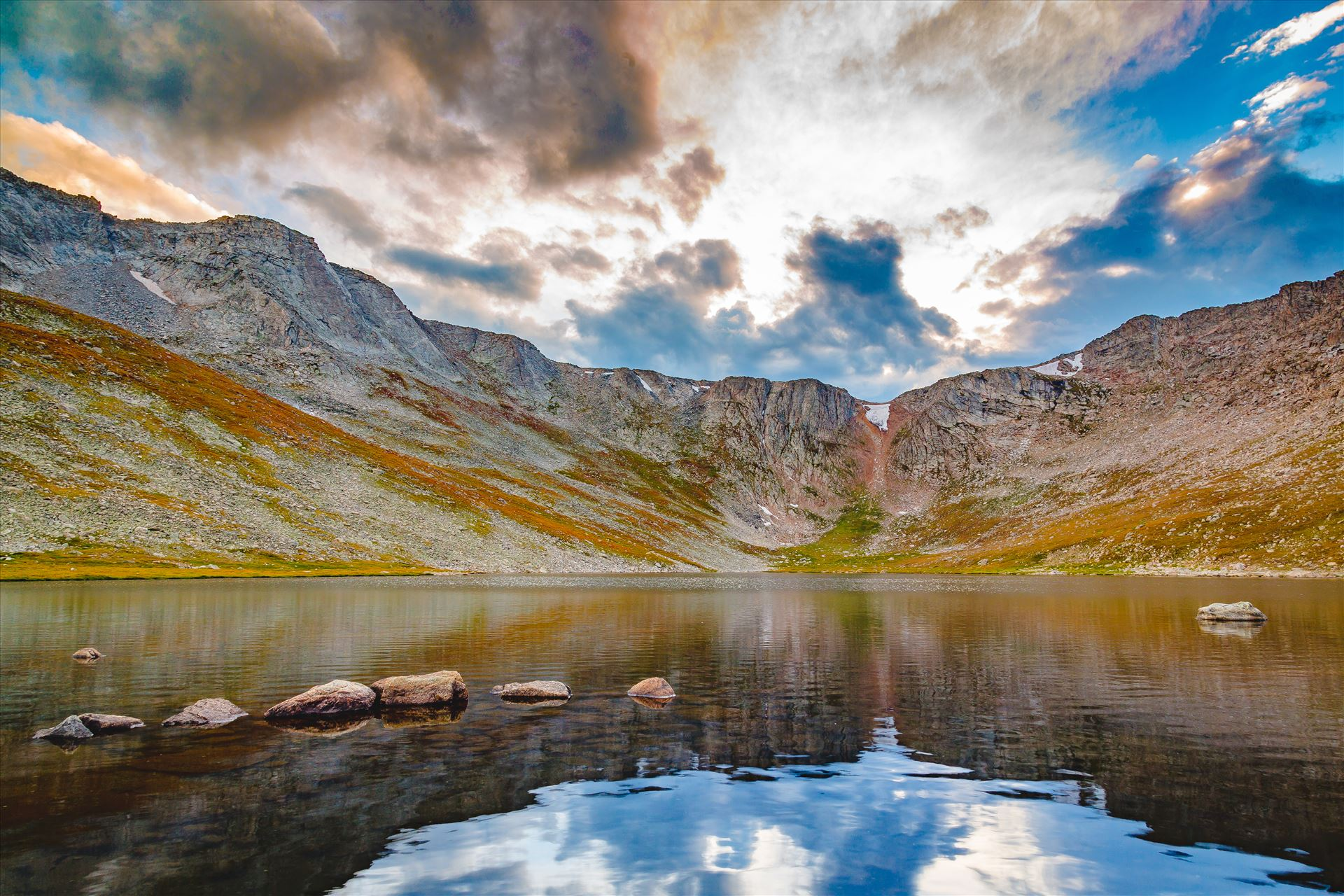 Summit Lake, Mt Evans III - Summit Lake at sunset, near the summit of Mt Evans, Colorado. by D Scott Smith