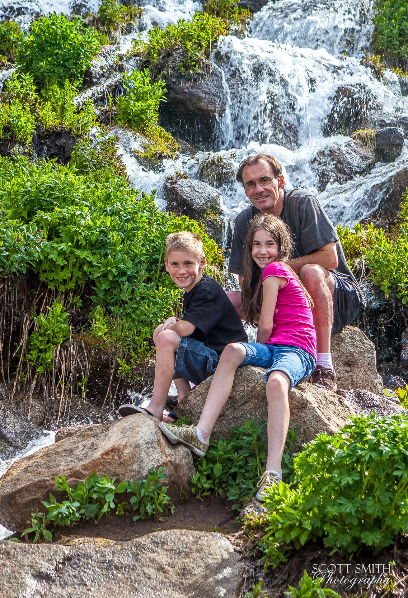 Rocky Mountain National Park Self Portrait - A self portrait of me and my children, in 2011. Shot with a wireless remote trigger. by D Scott Smith