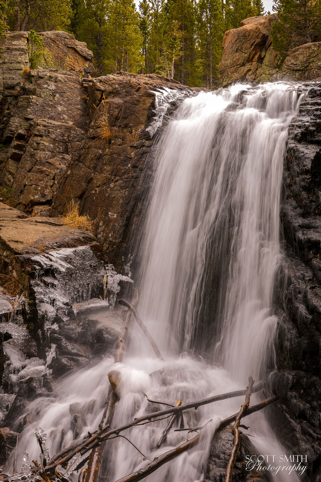 Alberta Falls, Rocky Mountain National Park No 3 - As winter approaches and the temperature starts to drop, ice formations start to appear around Alberta Falls. by D Scott Smith