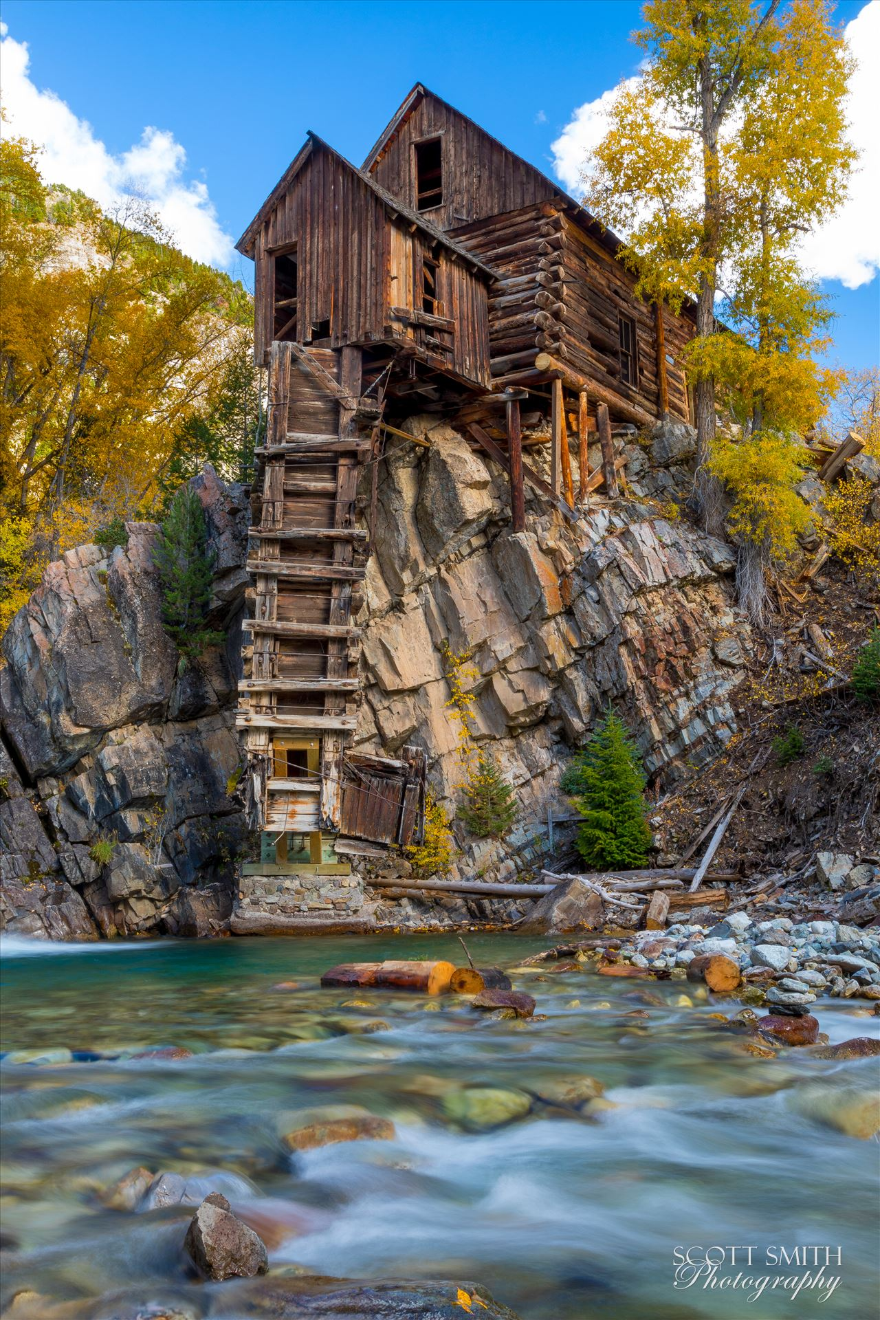 Crystal Mill, Colorado 09 - The Crystal Mill, or the Old Mill is an 1892 wooden powerhouse located on an outcrop above the Crystal River in Crystal, Colorado by D Scott Smith