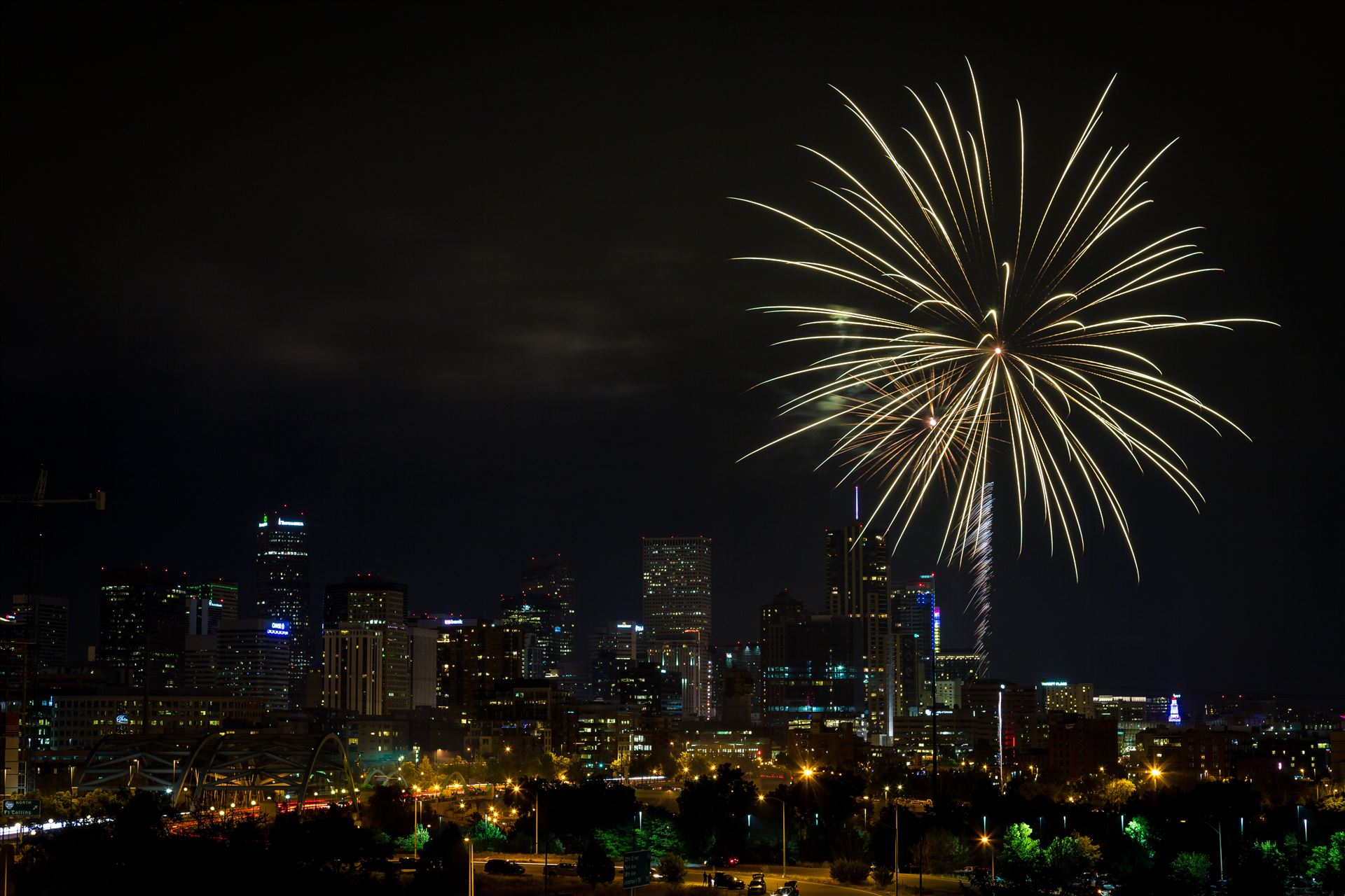 Elitch's Fireworks 2016 - 9 - Fireworks from Elitch Gardens, taken near Speer and Zuni in Denver, Colorado. by D Scott Smith
