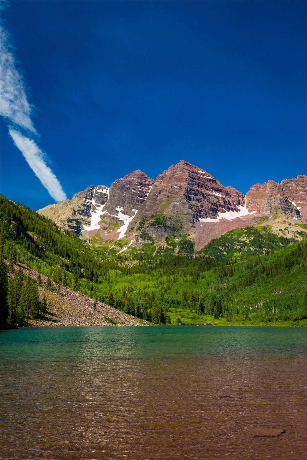 Maroon Bells in Summer No 01 -  by D Scott Smith