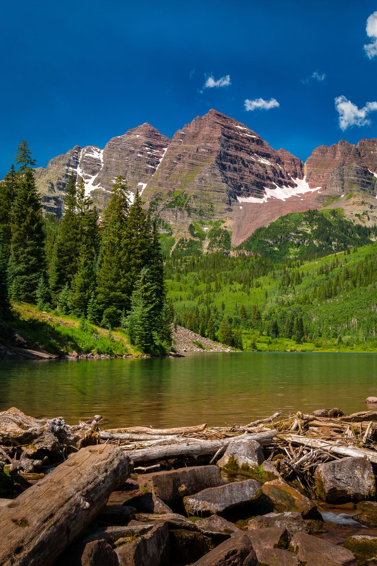 Maroon Bells in Summer No 10 -  by D Scott Smith