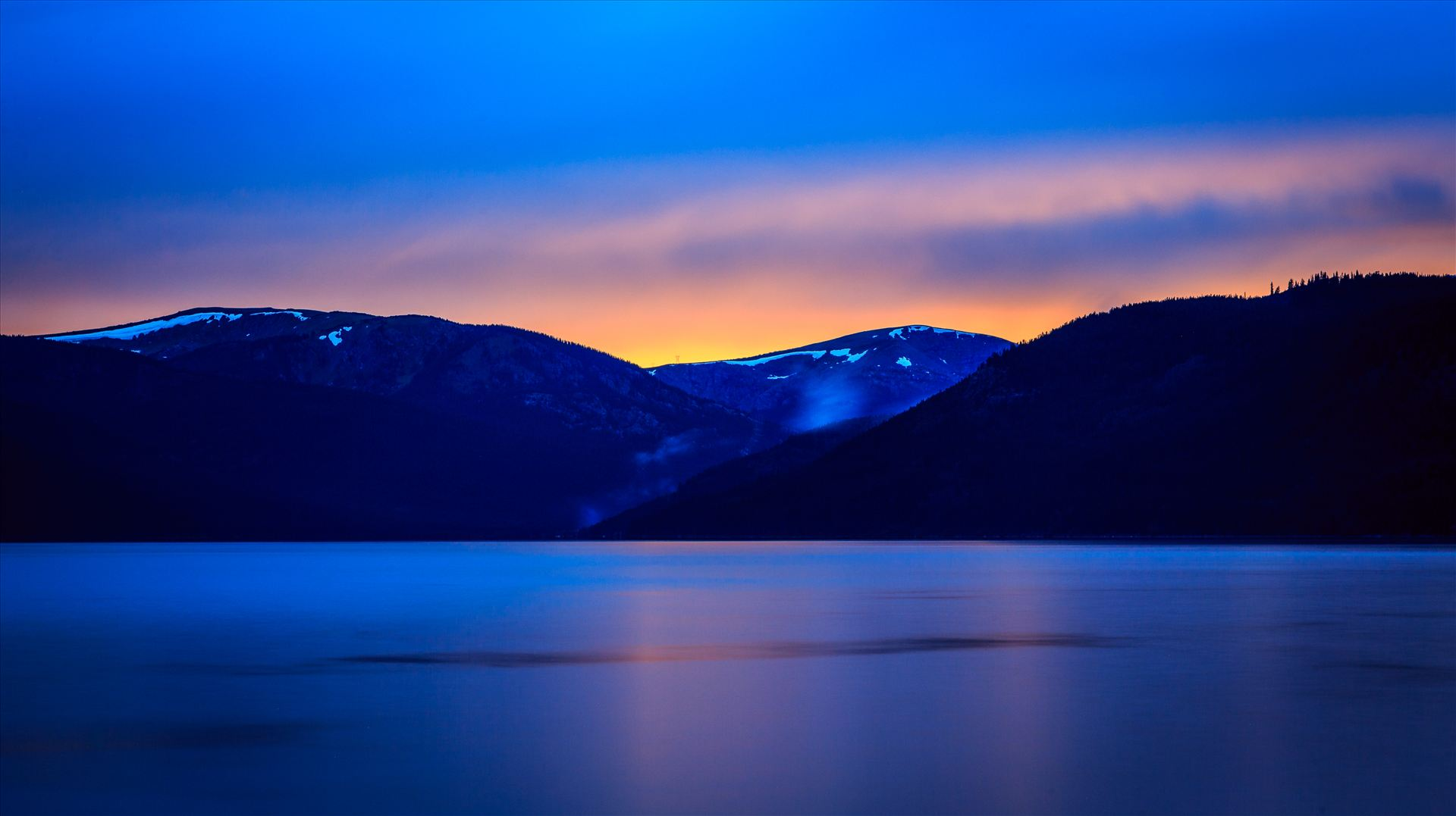 Sunset on Turquoise I - Sunset on the calm protected waters of Turqouise Lake, Leadville Colorado. by D Scott Smith