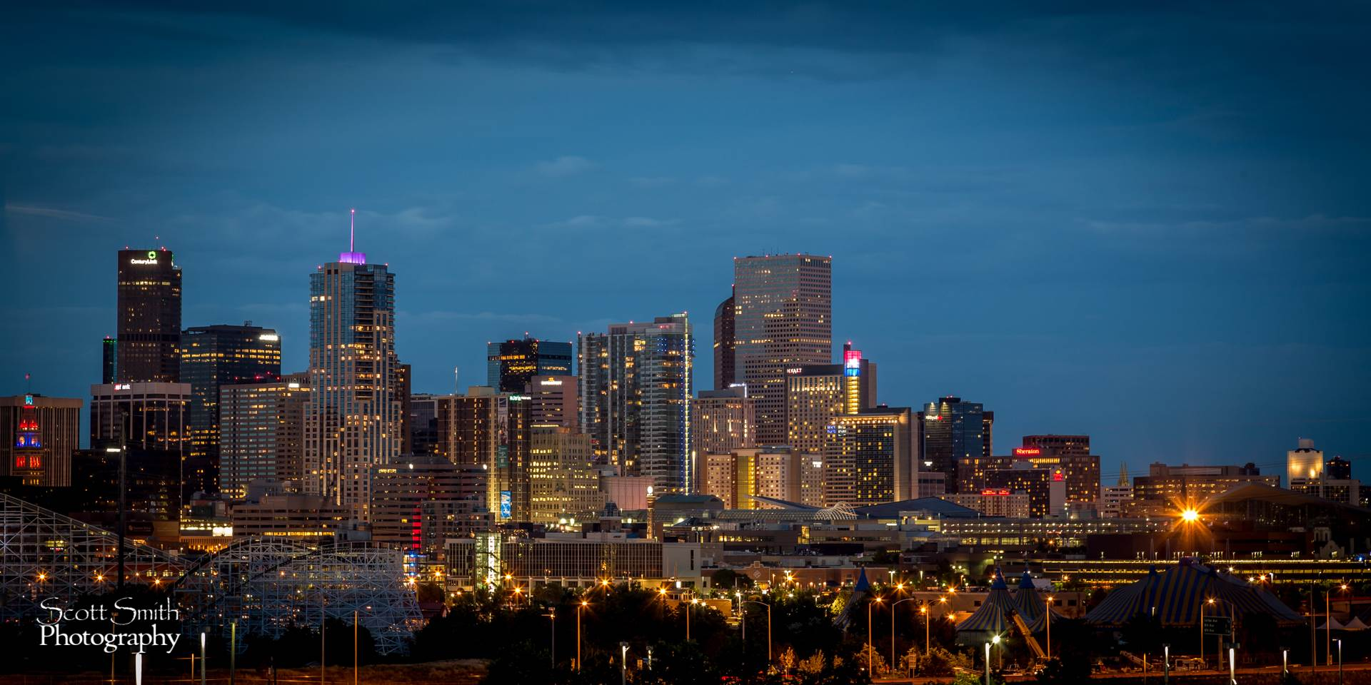 Denver at Night -  by D Scott Smith