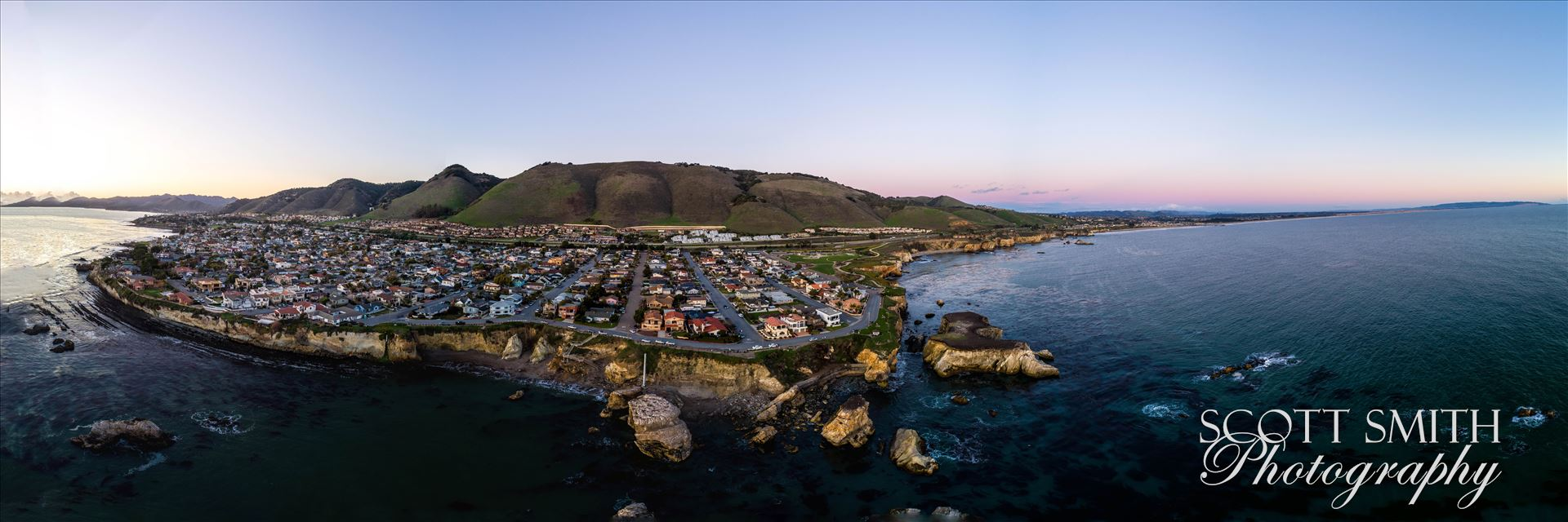 Aerial of Shell Beach, California - Near sunset, at Shell Beach, California.  Composite of 21 high res images from a Phantom 4 Pro.  This is a super high resolution image at over 16k by 4k pixels. by D Scott Smith
