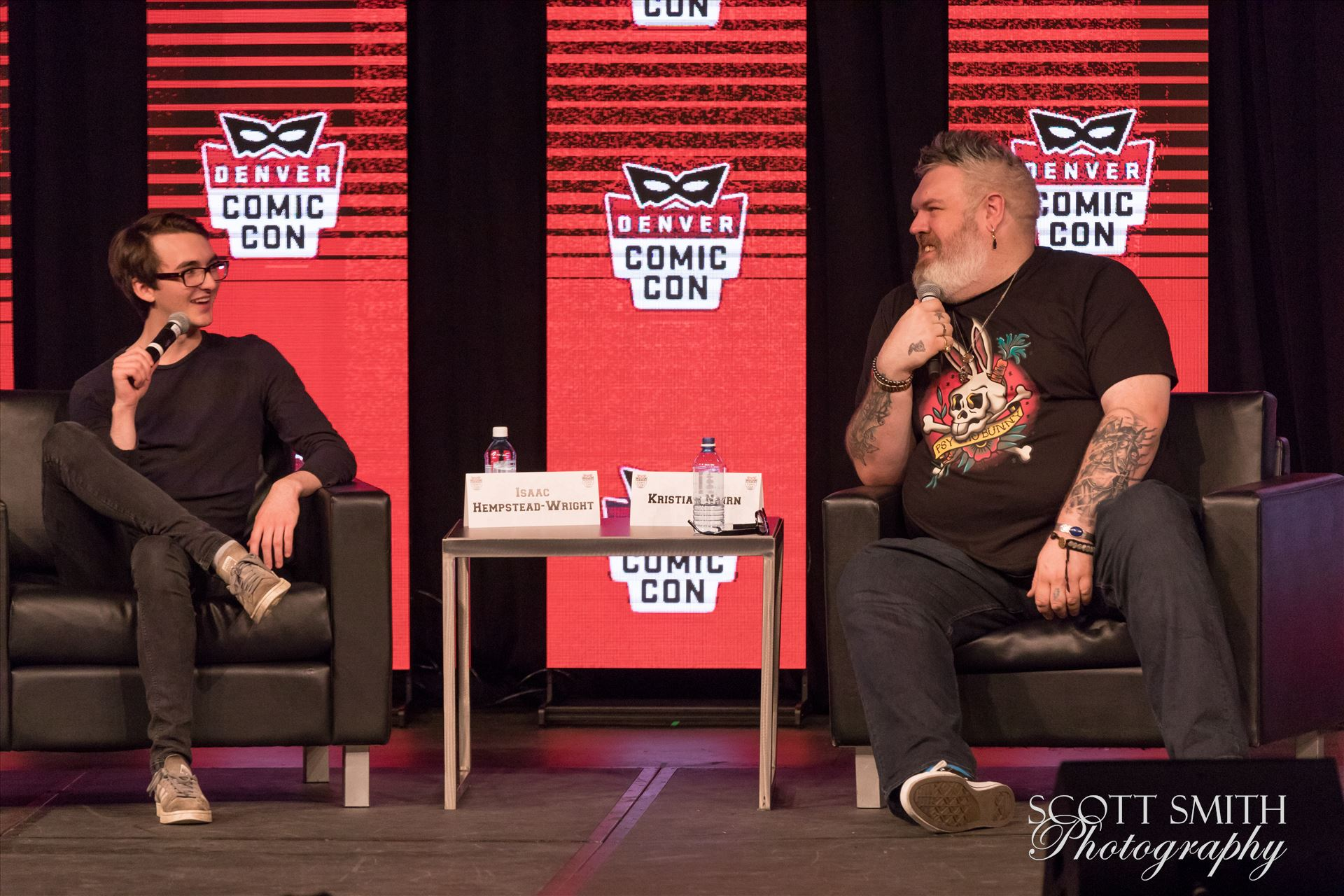 Game of Thrones'-  Bran and Hodor, Isaac Hempstead Wright and Kristian Nairn at Denver Comic Con 2018 -  by D Scott Smith