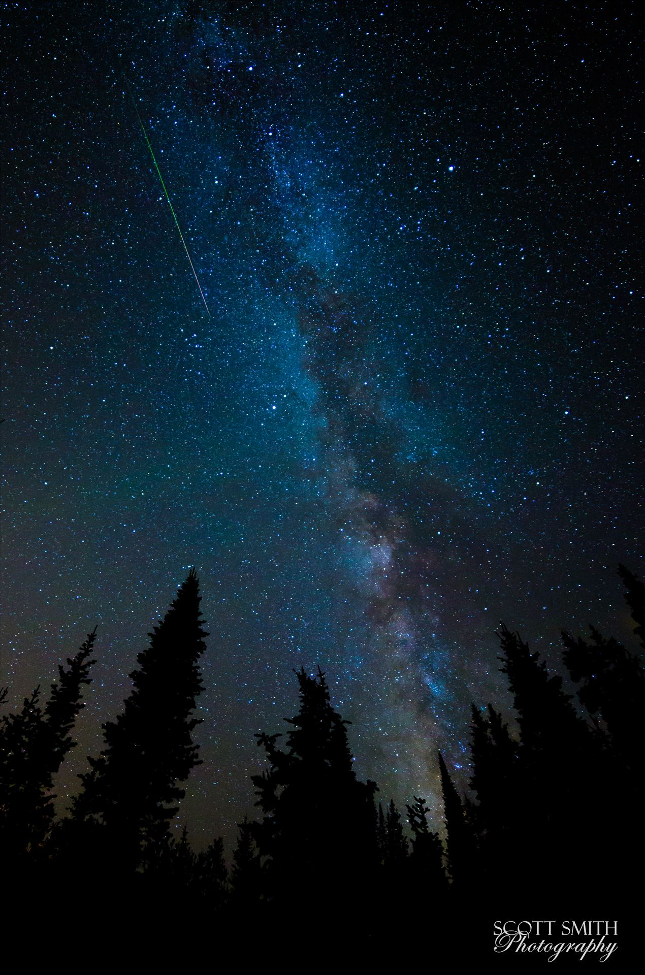 Milky Way and Meteorite from the Perseids - A lone meteorite streaks through the sky near the Milky Way, at the Brainard Lake State Recreation Area near Ward, Colorado. by D Scott Smith