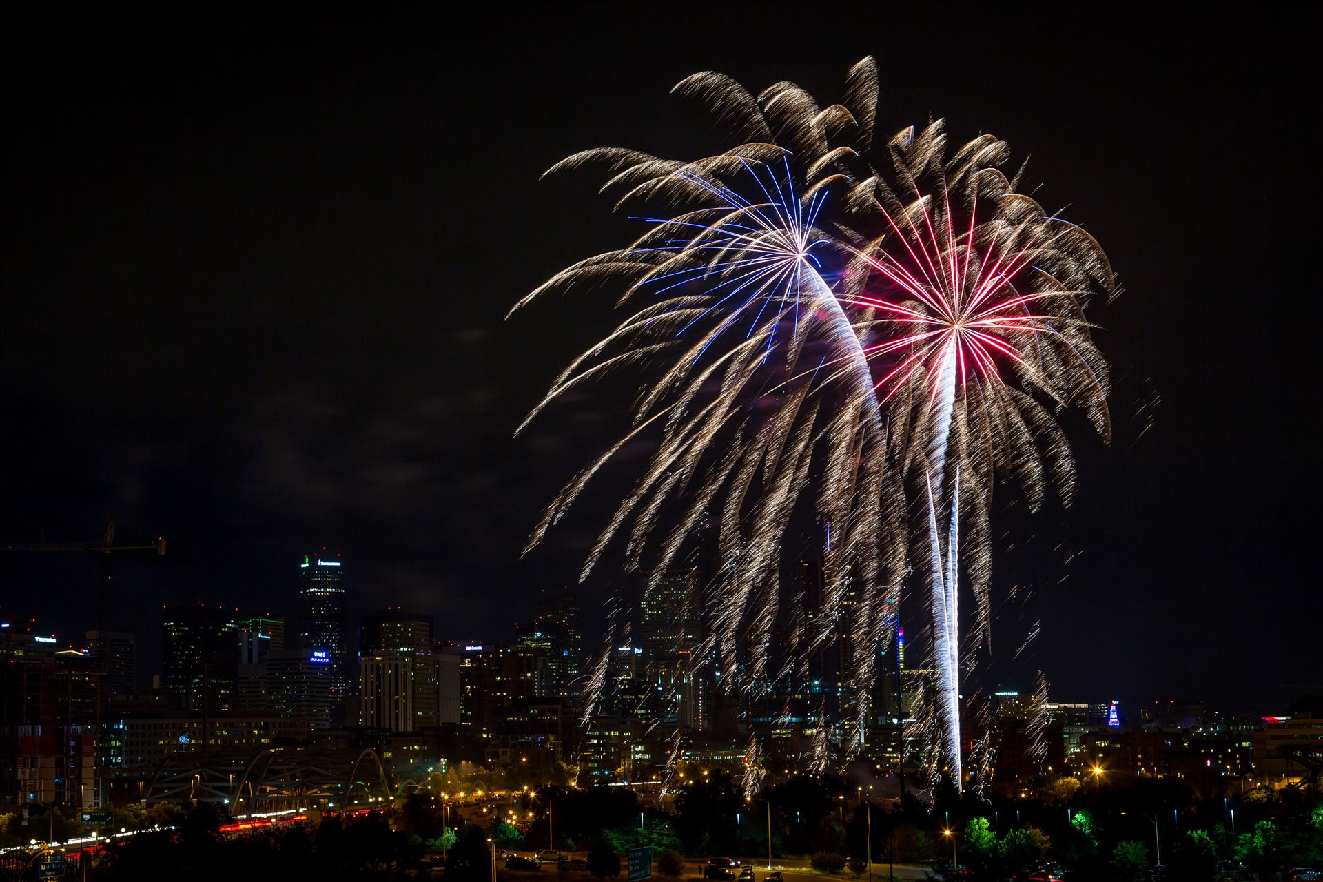 Elitch's Fireworks 2016 - Red White and Blue - Fireworks from Elitch Gardens, taken near Speer and Zuni in Denver, Colorado. by D Scott Smith