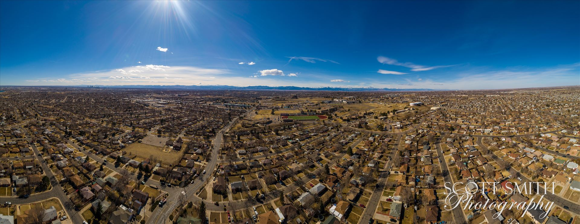 Panoramic aerial shot of Thornton, Colorado - A panoramic aerial photo of Thornton, Colorado, made up of 21 separate photos. by D Scott Smith