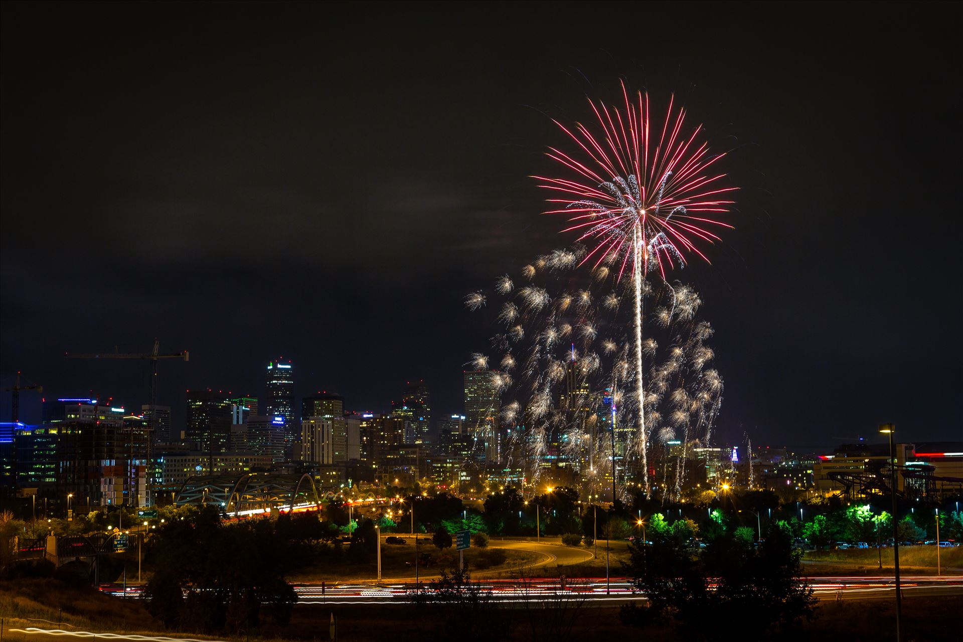 Elitch's Fireworks 2016 - 2 - Fireworks from Elitch Gardens, taken near Speer and Zuni in Denver, Colorado. by D Scott Smith
