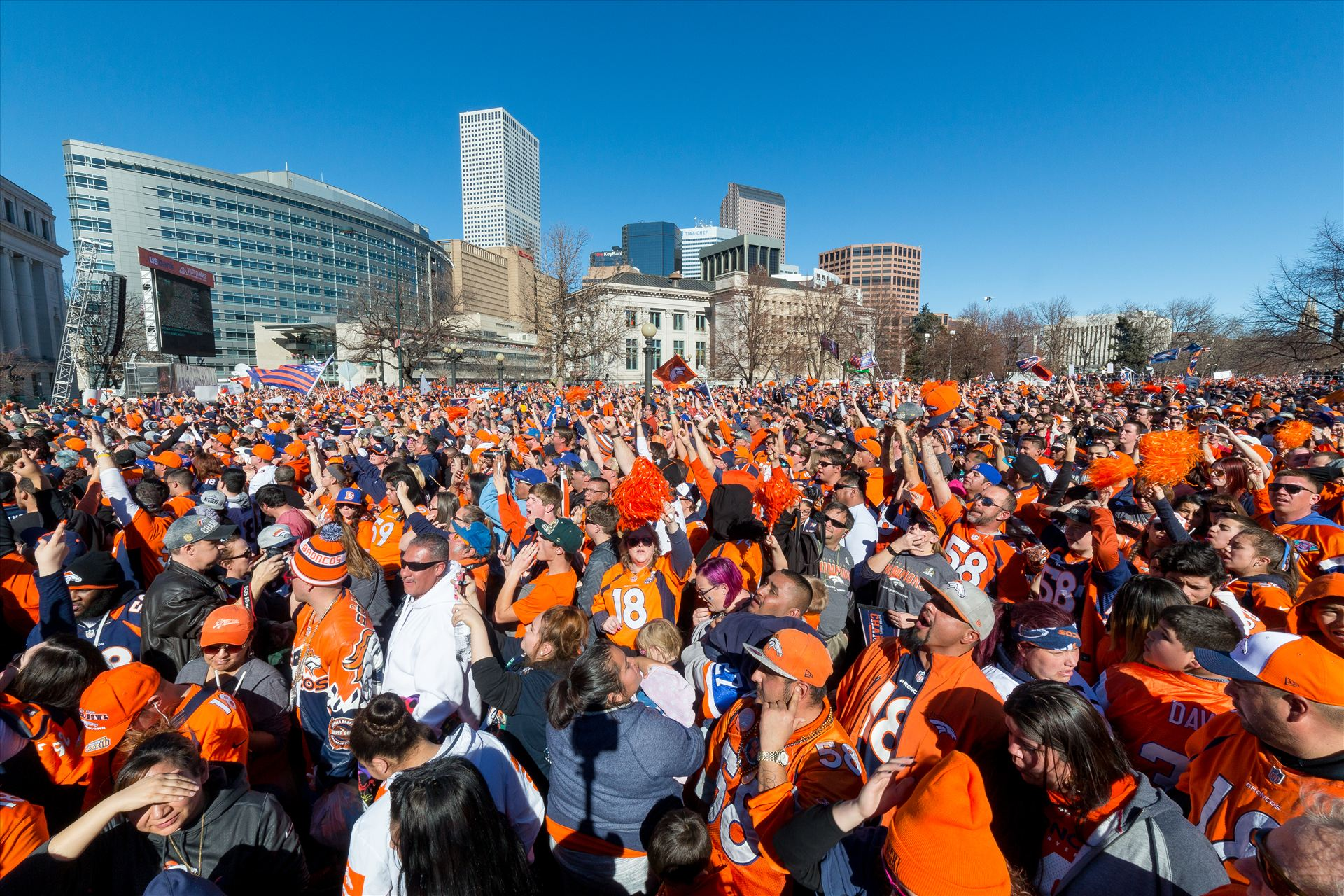 Broncos Fans 2 - The best fans in the world descend on Civic Center Park in Denver Colorado for the Broncos Superbowl victory celebration. by D Scott Smith