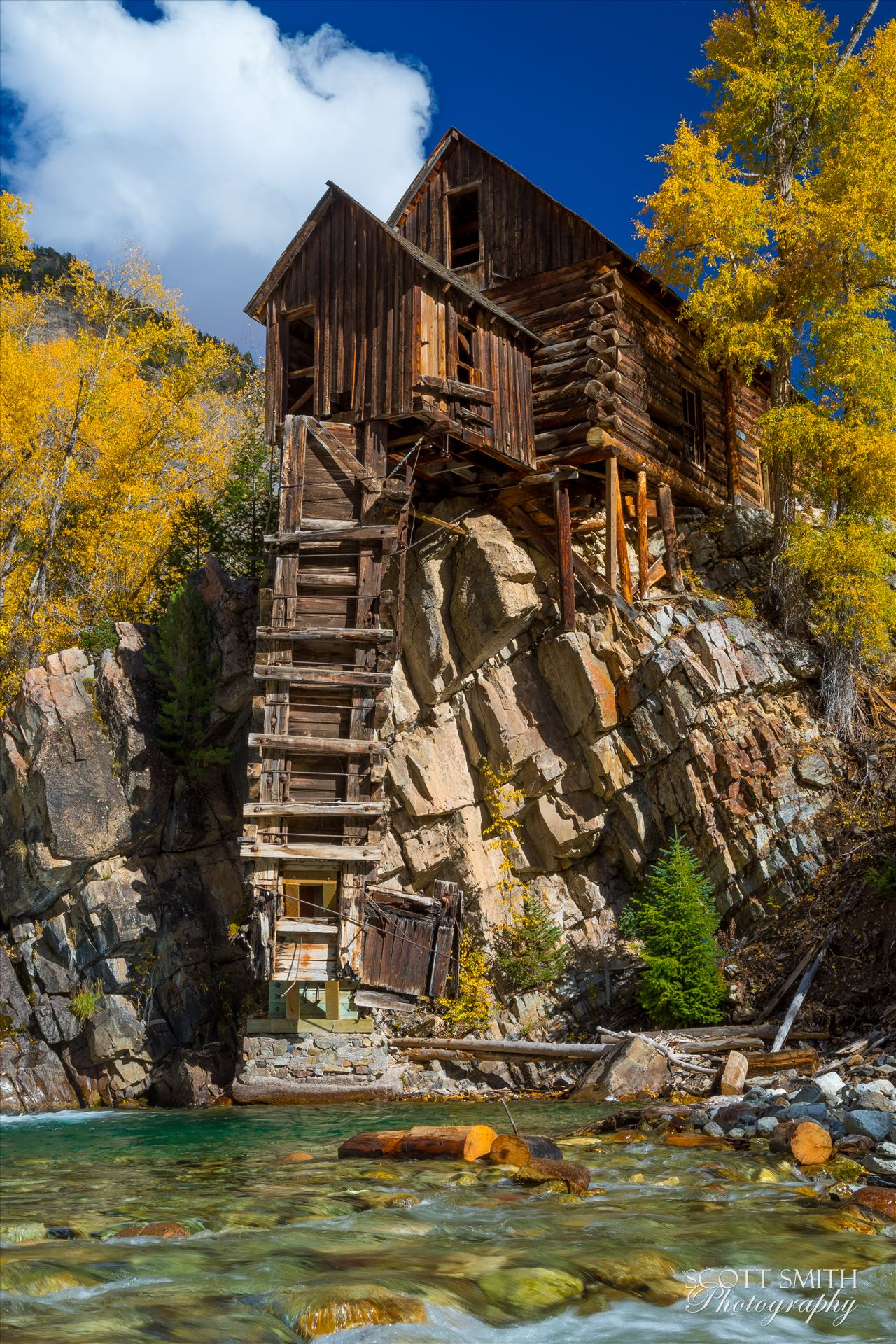 Crystal Mill, Colorado 06 - The Crystal Mill, or the Old Mill is an 1892 wooden powerhouse located on an outcrop above the Crystal River in Crystal, Colorado by D Scott Smith
