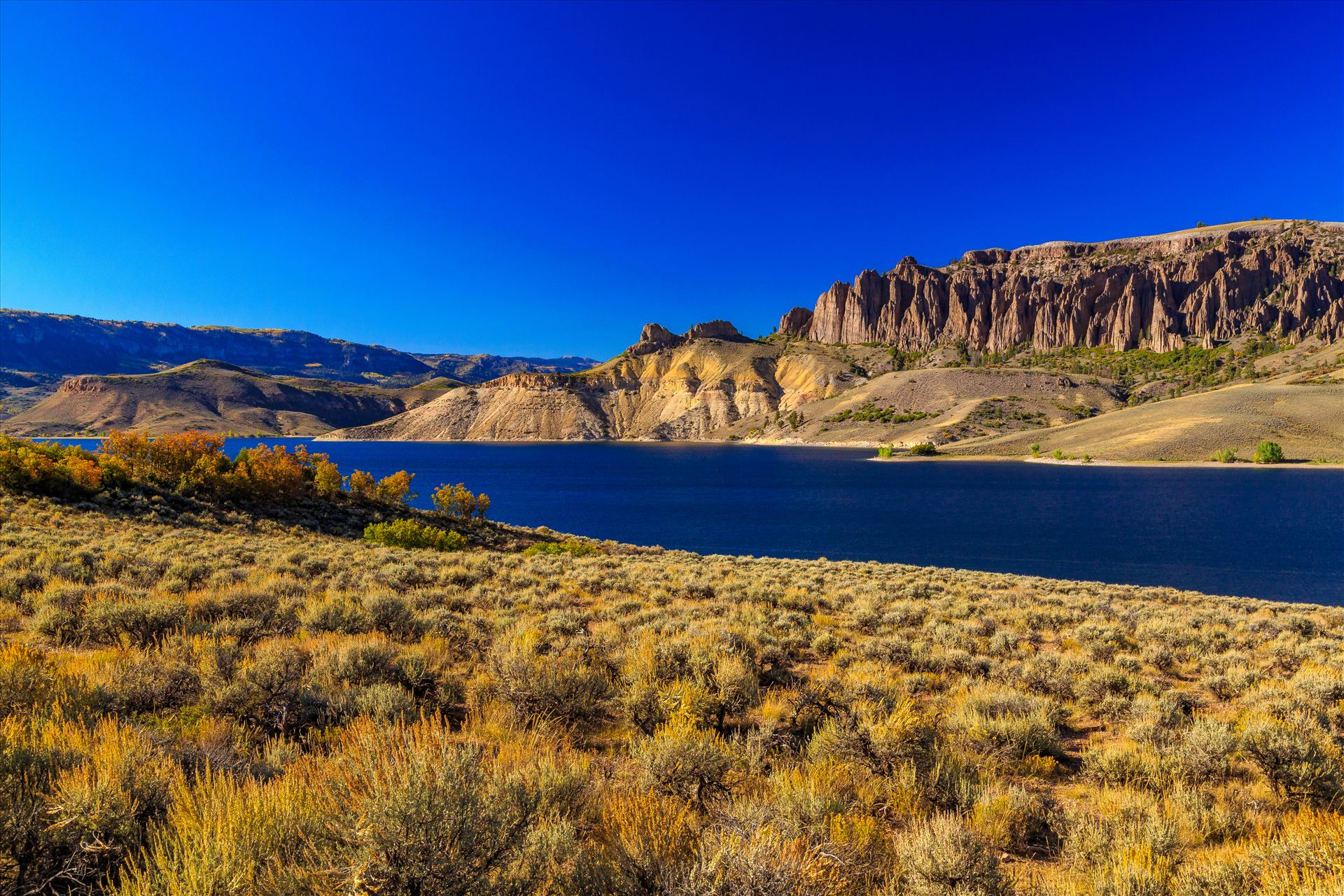 Dillon Pinnacles and Gunnison River - The Dillon Pinnacles tower over the beautiful Gunnison River, near Gunnison Colorado. by D Scott Smith