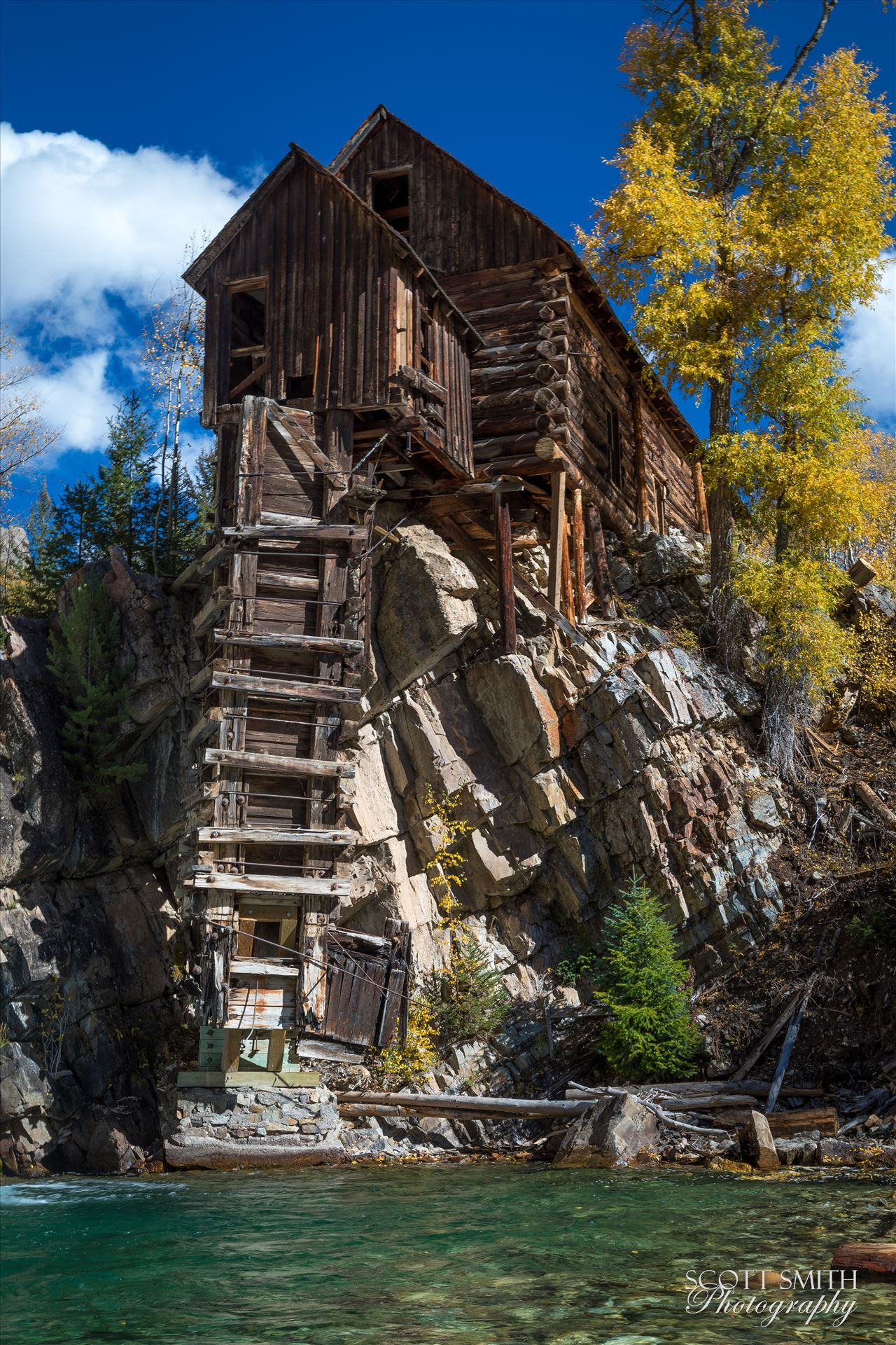 Crystal Mill, Colorado 05 - The Crystal Mill, or the Old Mill is an 1892 wooden powerhouse located on an outcrop above the Crystal River in Crystal, Colorado by D Scott Smith