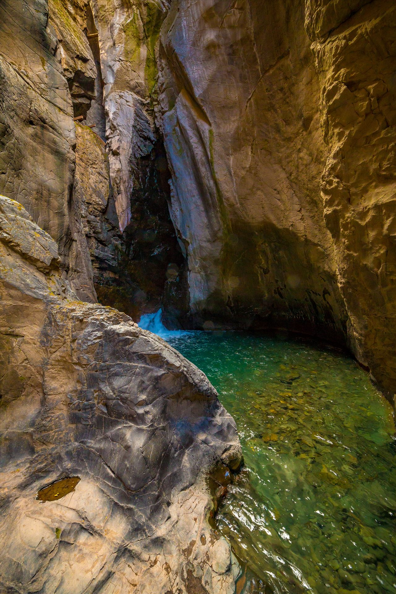 Ouray Box Canyon Falls 3 - An waterfall at the end of a narrow box Canyon in Ouray,Colorado. by D Scott Smith