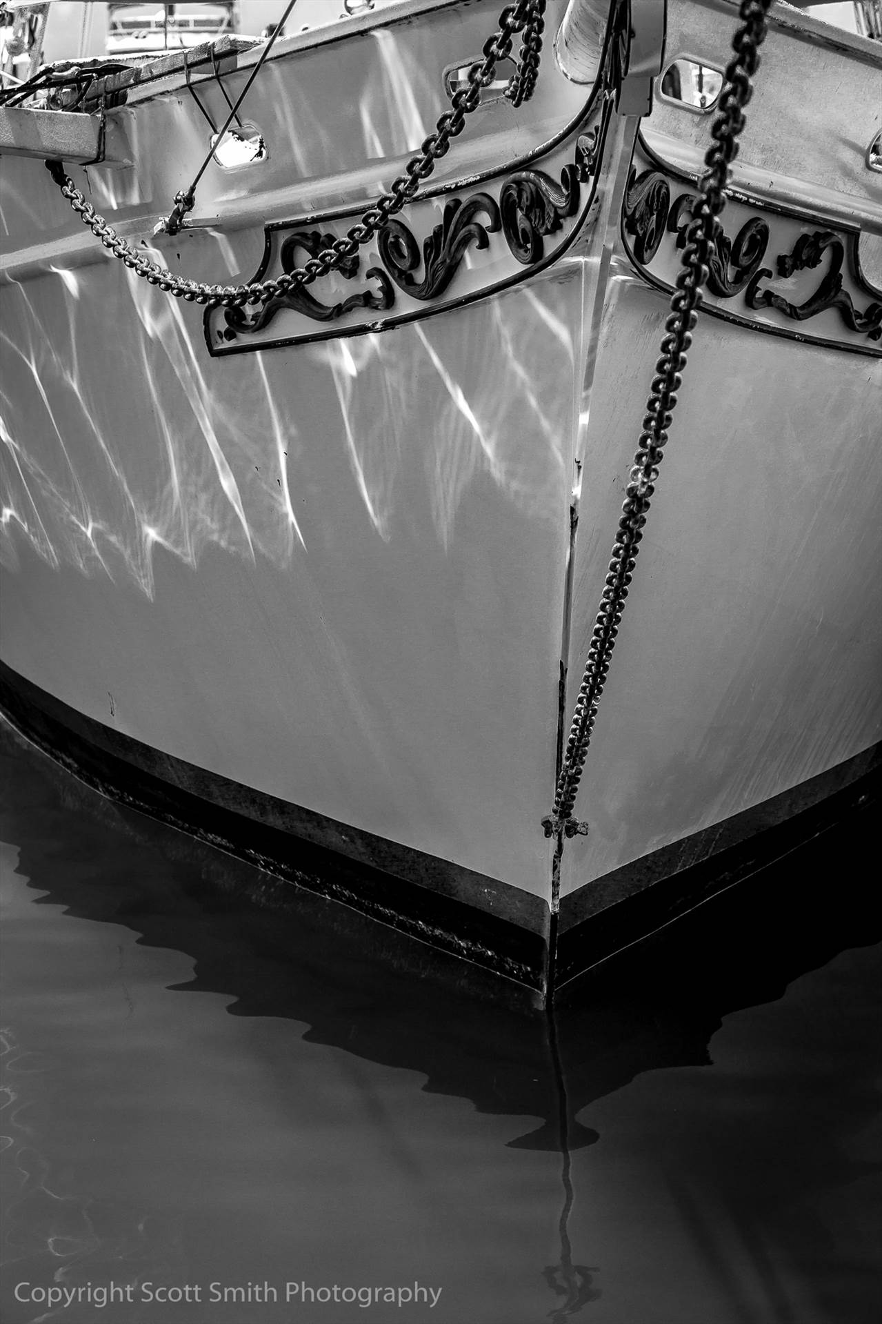 Reflections - A beautiful old ship rests at dock in a Key West marina. by D Scott Smith