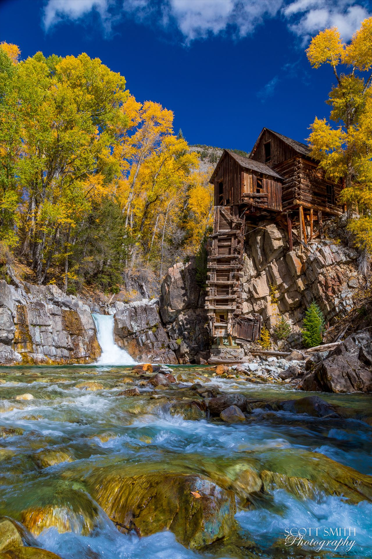 Crystal Mill, Colorado 04 - The Crystal Mill, or the Old Mill is an 1892 wooden powerhouse located on an outcrop above the Crystal River in Crystal, Colorado by D Scott Smith