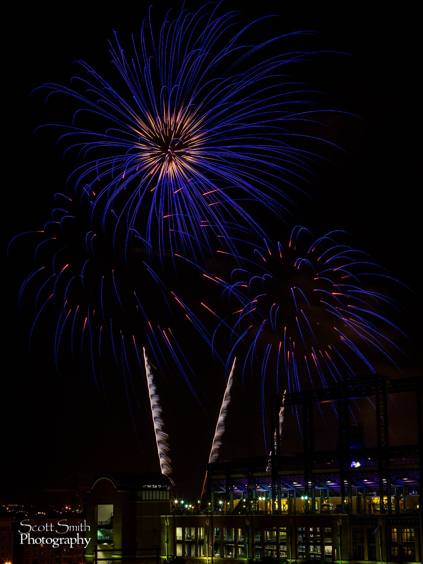 Fireworks over Coors Field 3 - Fourth of July fireworks over Coors Field after a Colorado Rockies game. by D Scott Smith