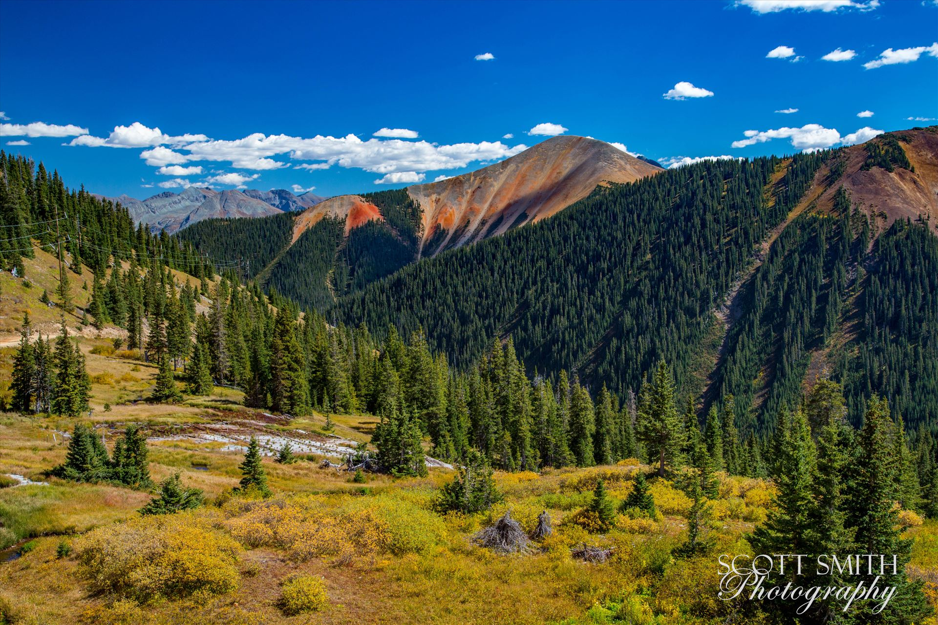 Ophir Pass 5 - Ophir Pass, featuring one of the red mountains, between Ouray and Silverton Colorado in the fall. by D Scott Smith