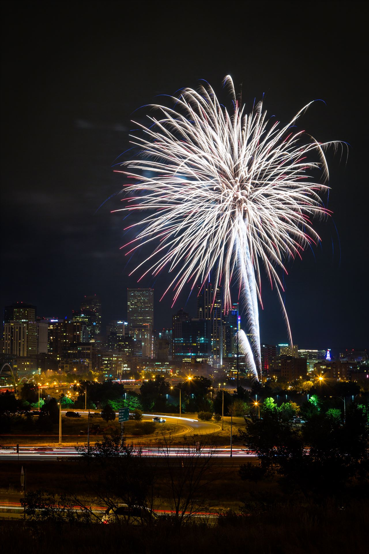 Elitch's Fireworks 2016 - 3 - Fireworks from Elitch Gardens, taken near Speer and Zuni in Denver, Colorado. by D Scott Smith