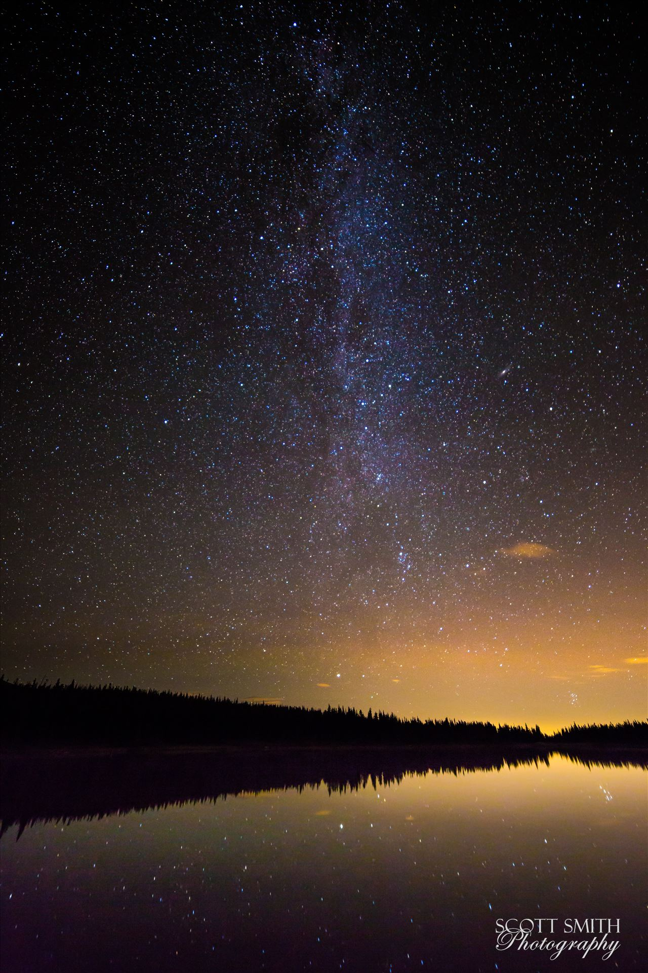 Milky Way over Brainard Lake - The Milky Way over Brainard Lake, on August 13th, during the Perseid meteor shower. No meteorites show in the image, but the reflection of the stars on the water is striking. The Andromeda galaxy makes an appearance, in the middle of the right half of the by D Scott Smith