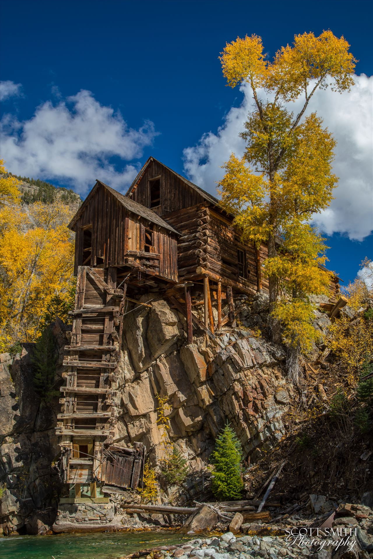 Crystal Mill, Colorado 01 - The Crystal Mill, or the Old Mill is an 1892 wooden powerhouse located on an outcrop above the Crystal River in Crystal, Colorado by D Scott Smith