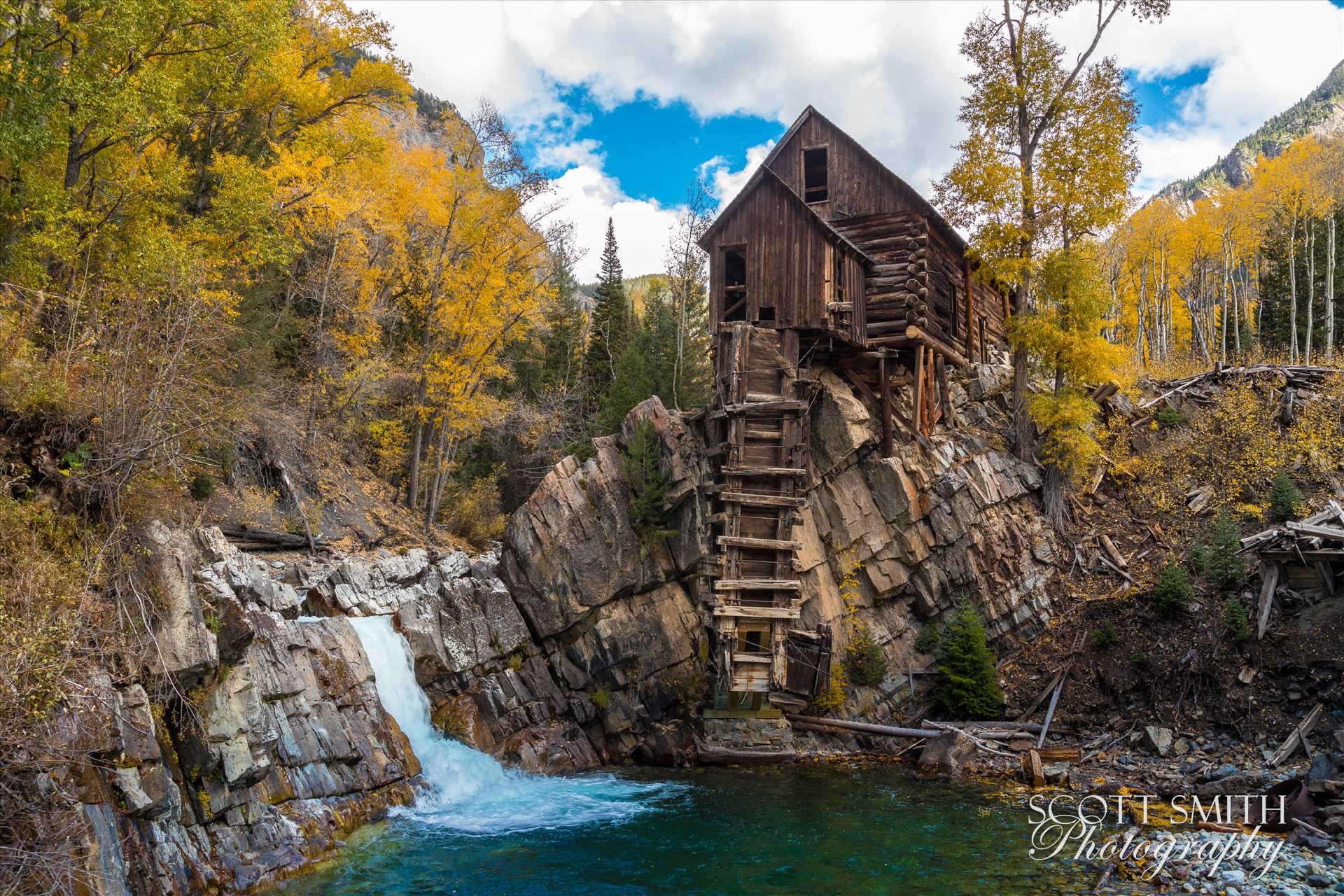 Crystal Mill, Colorado 03 - The Crystal Mill, or the Old Mill is an 1892 wooden powerhouse located on an outcrop above the Crystal River in Crystal, Colorado by D Scott Smith