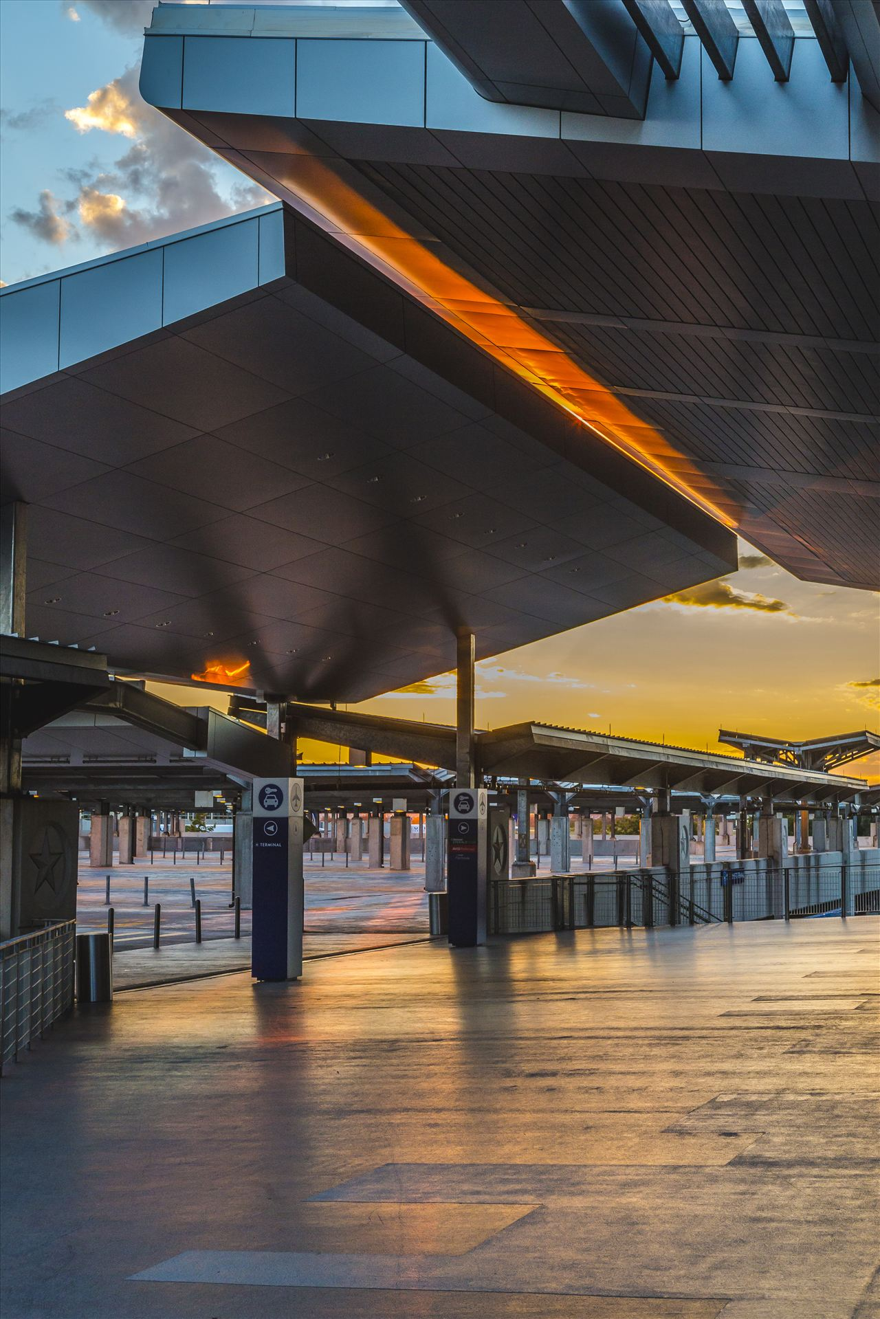 Austin–Bergstrom International Airport - The former parking area at Austin–Bergstrom International Airport at sunset by D Scott Smith